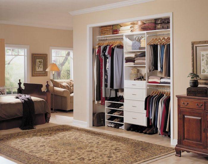 Dressing chambre dressing modulable rangement chambre beige chambre a coucher