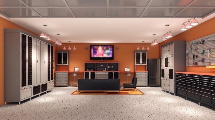 exemple comment amenager son garage, design intérieur moderne dans un garage aux murs oranges avec meubles gris et noir