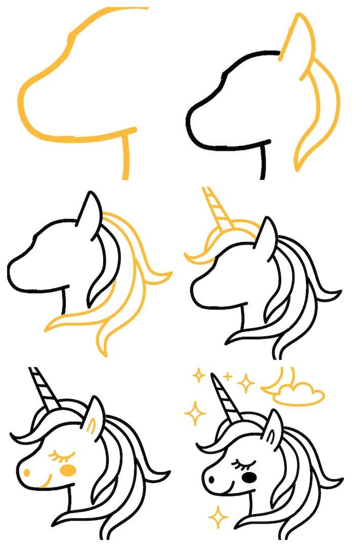 idee dessiner une licorne maternelle simple, dessiner une licorne pas à pas tuto enfant facile