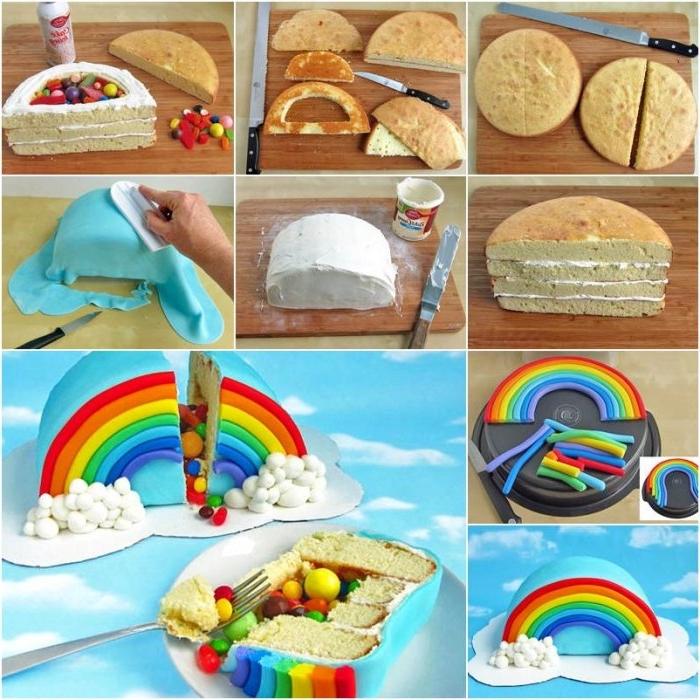 idée originale pour un gateau anniversaire enfant en forme d'arc-en-ciel rempli de bonbons composé de couches de génoises coupées en deux