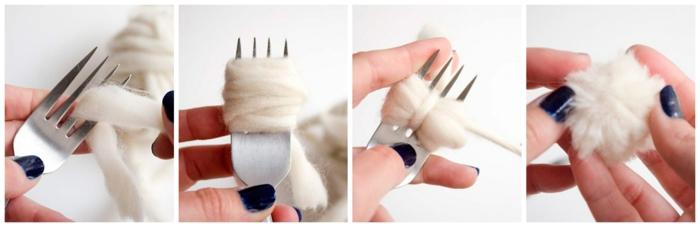 pompons pour tapis laine, pompons blancs avec fourchette, enrouler le fil autour la fourchette et nouer le milieu