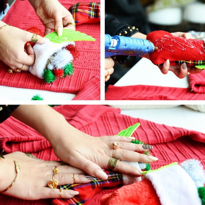 photos tuto de fabrication diy d'un pull de noel kitsch et moche avec objets collés