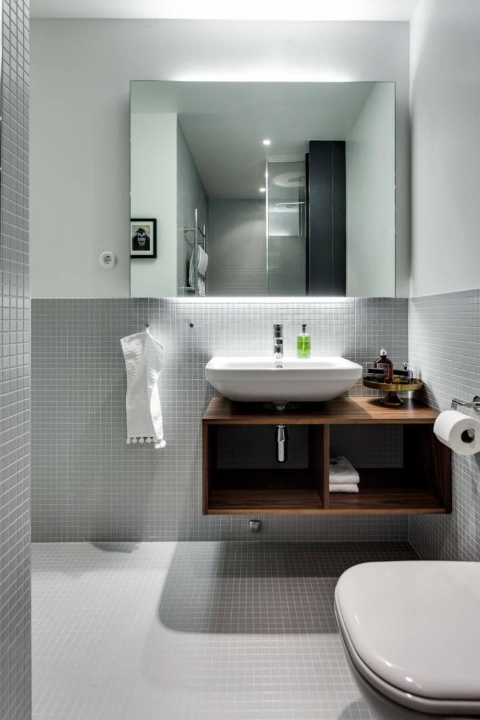 Decoration industrielle, idee interieuer style scandinave, inspiration pour salle de bains gris et blanche