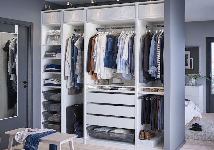 Dressing tout en un dressing chambre cozy décoration stylée gris chambre dressing lié a la chambre a coucher joliment decoree