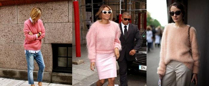 pull de noel femme rose, pull poilu rose porté avec une jupe rose ou un pantalon blanc