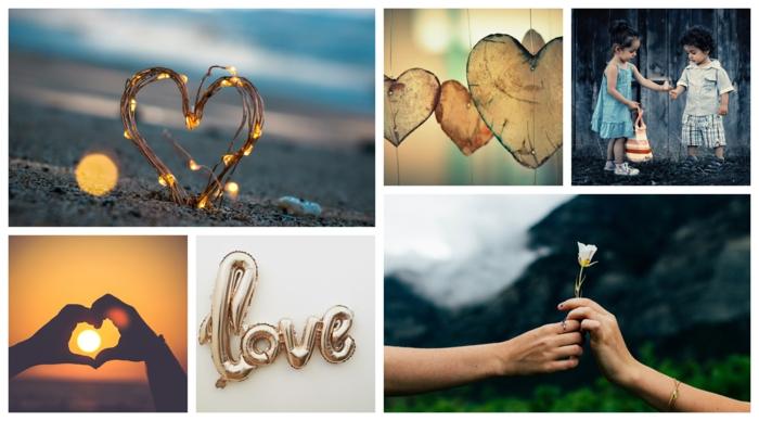 L'amour image romantique, collage couple d'enfants mignons, romantique jour festive en février, image pour saint valentin