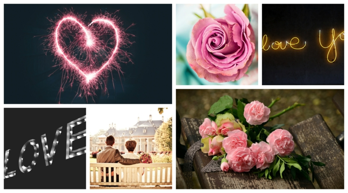Collage photo romantique, couple romantique assise sur un banc, rose rose, tradition romance amour