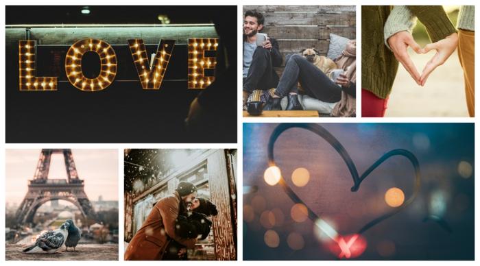 Love sign néon, coeur sur le fenetre, mains qui font un coeur, la tour eiffel et des oiseaux amoureux, couple romantique, image couple amoureux belles photos romantiques