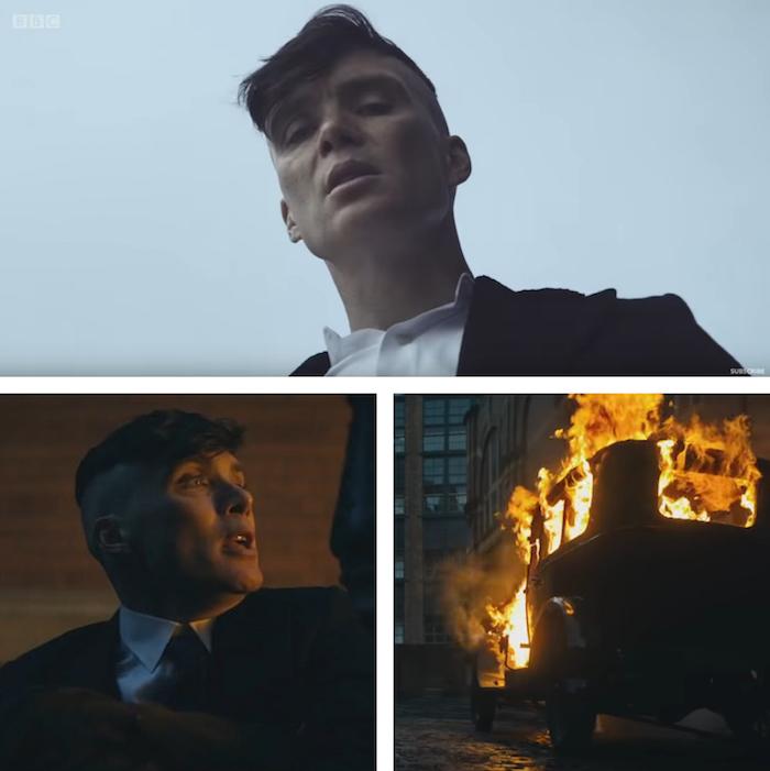 montage de capture d'écran d'images furtives de la nouvelle saison 5 de peaky blinders issues du teaser 2019 de la bbc