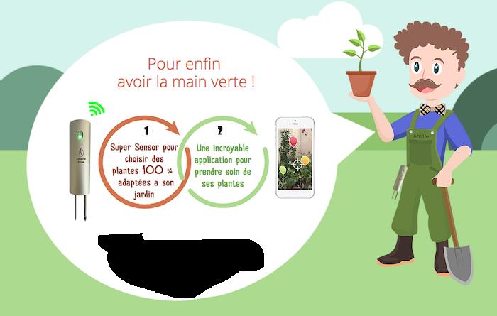 l'application et le capteur pour jardinier archie archibald de l'entreprise française connected garden primé au ces 2019