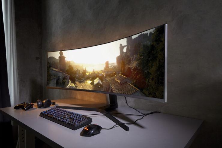 image illustration de l'écran samusung crg 9 incurvé 49 pouces 5K présenté au ces 2019 de las vegas, Samsung CRG9