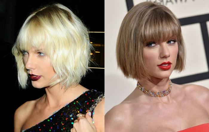 Taylor Swift avec coupe au carré et les cheveux blonds, carré ondulé, carré lisse, collier statement coloré