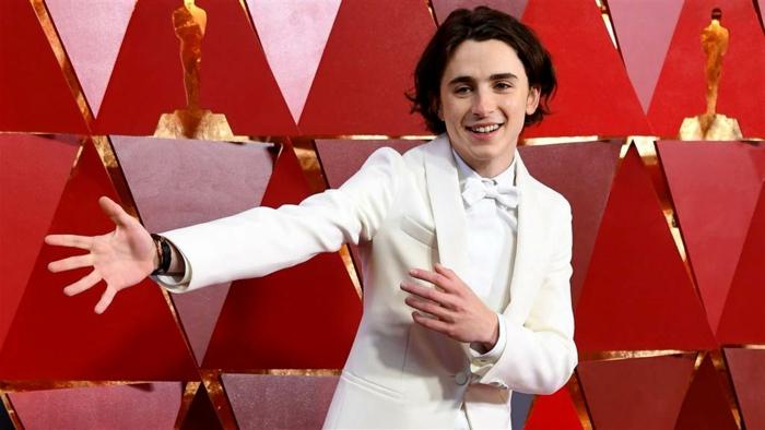 look des stars, le costume blanc de Thimothée Chalamet, chemise blanche, papillon blanc, jeune star au tapis rouge, tenues des stars