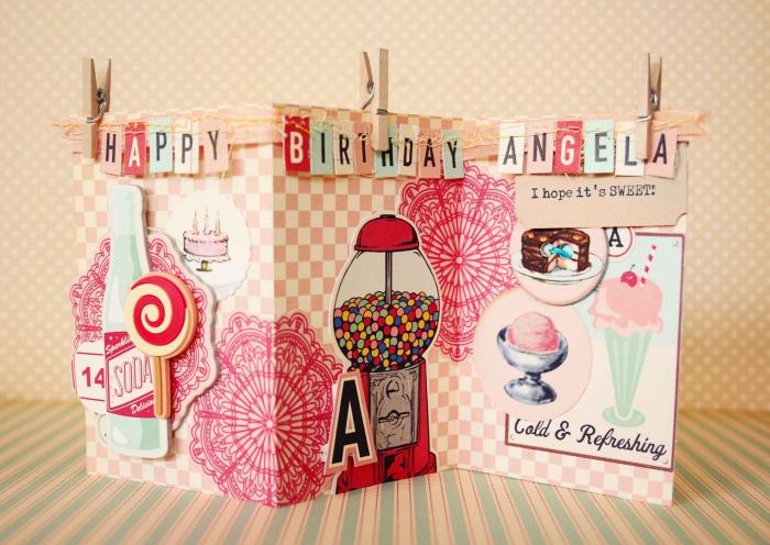 technique pliage de papier facile, apprendre à faire une carte scrap en papier artisanal rose, décoration carte DIY avec figurines en papier
