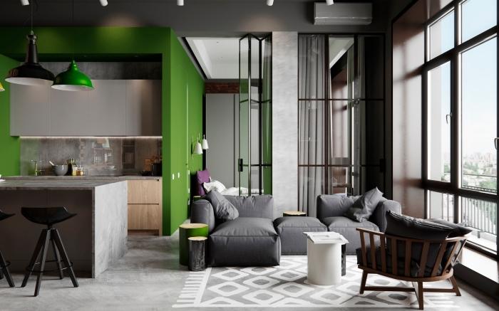 comment aménager petite cuisine style industriel avec mur vert, déco salon gris foncé avec pan de mur vert anglais