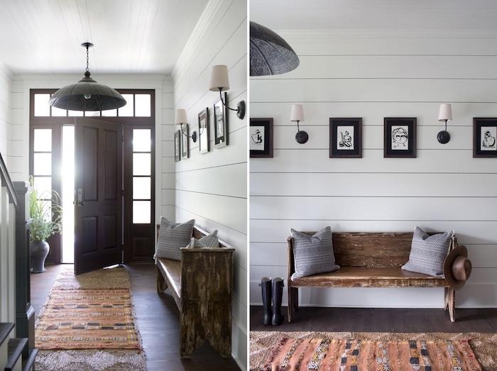 illuminer son entrée, porte entree vitree avec de petites fenêtres autour, idee deco entree avec banc entree rustique, mur lambris blanc, grand lustre design et appliques