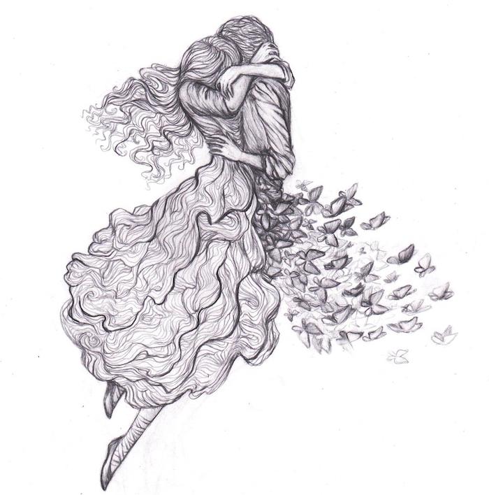 dessin couple originale en noir et blanc, femme et homme câlin, femme en robe, homme en chemise et un bas de papillons qui s envolent