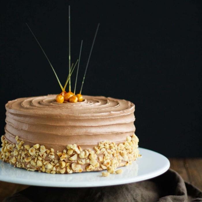 gâteau à la vanille et à la ganache au chocolat et noisettes, nappé de crème beurre au nutella