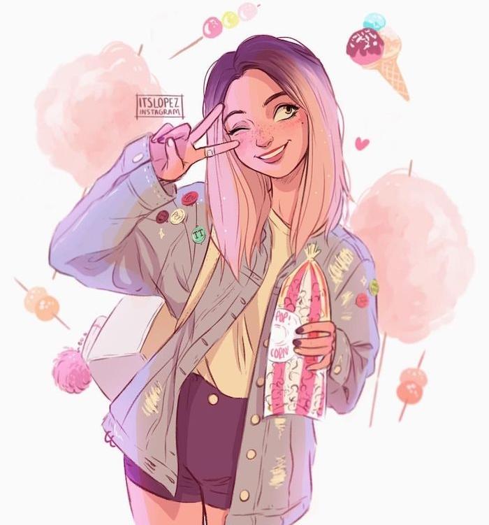 idée de tenue swag de fille en shorts, veste et tee shirt jaune, cheveux mi longs, dessin facile a faire en couleurs