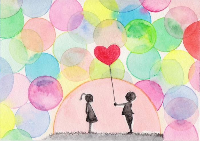 fond de soleil et bulles d air colorés, silhouette garçon et fille noirs et un ballon en forme de coeur, dessin amoureux facile
