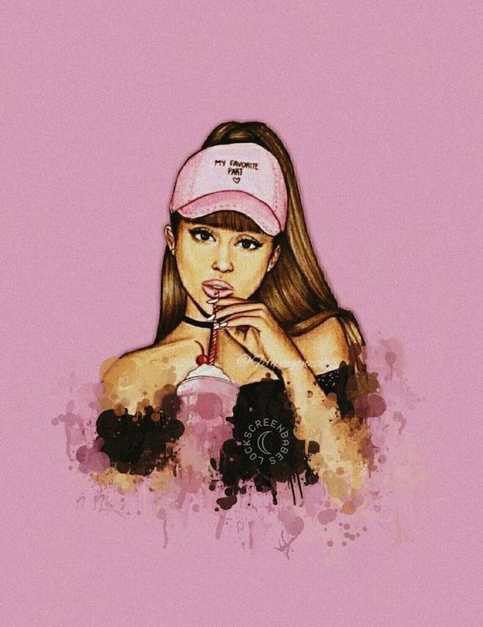 ariana grande dessin en couleurs, fille avec casquette rose et tee shirt noir, rouge à lèvres rose et maquillage naturel