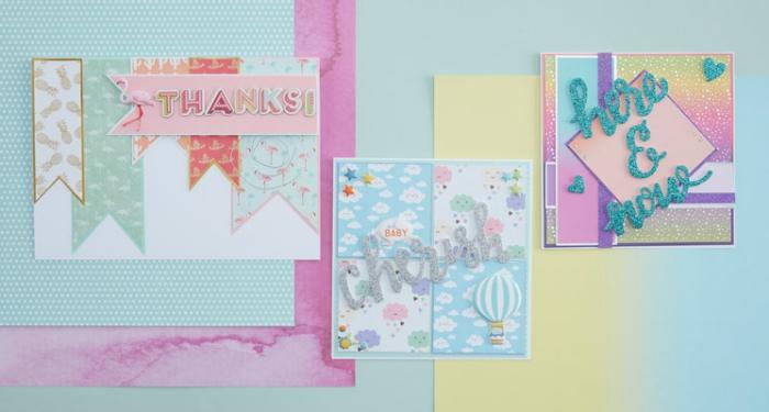 modèles de cartes diy fabriquées en papier scrap de couleurs pastel, stickers scrap à design ombré effet pailleté