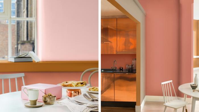 couleurs pimpées dans l'intérieur, mur couleur rose ou pêche, déco espace scandinave, tasses et ustensiles en blanc et cuivré