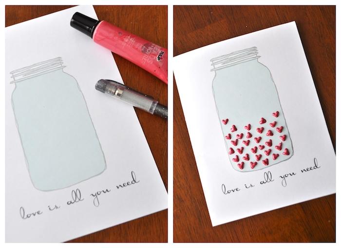 dessin bocal rempli de petits coeurs en peinture 3d sur bout de papier blanc, exemple de carte saint valentin originale