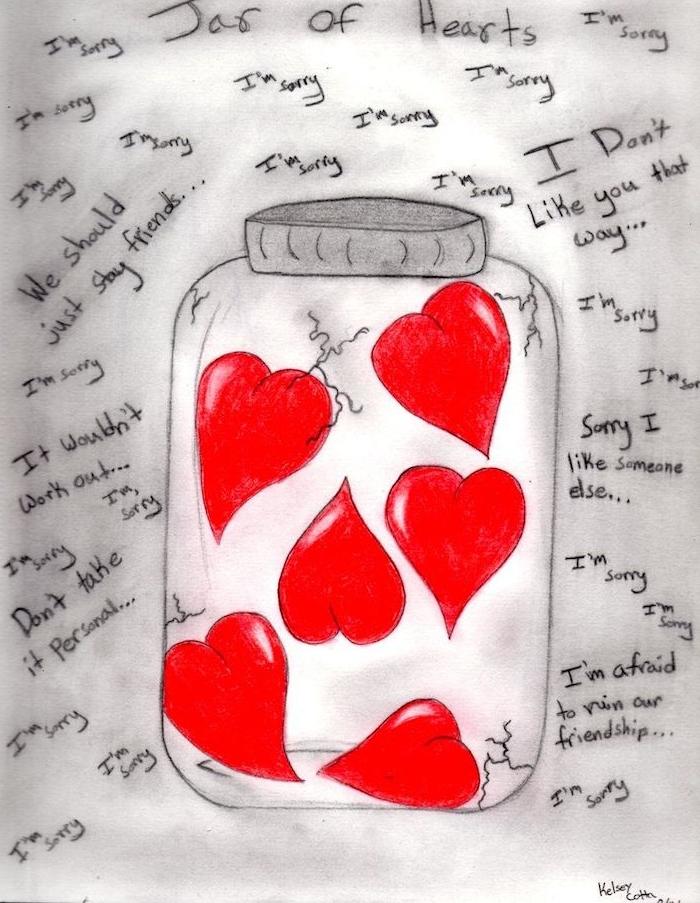 dessin d'amour, idée de coeurs rouges renfermés dans un bocal avec petits textes sur l amour autour, image saint valentin amour
