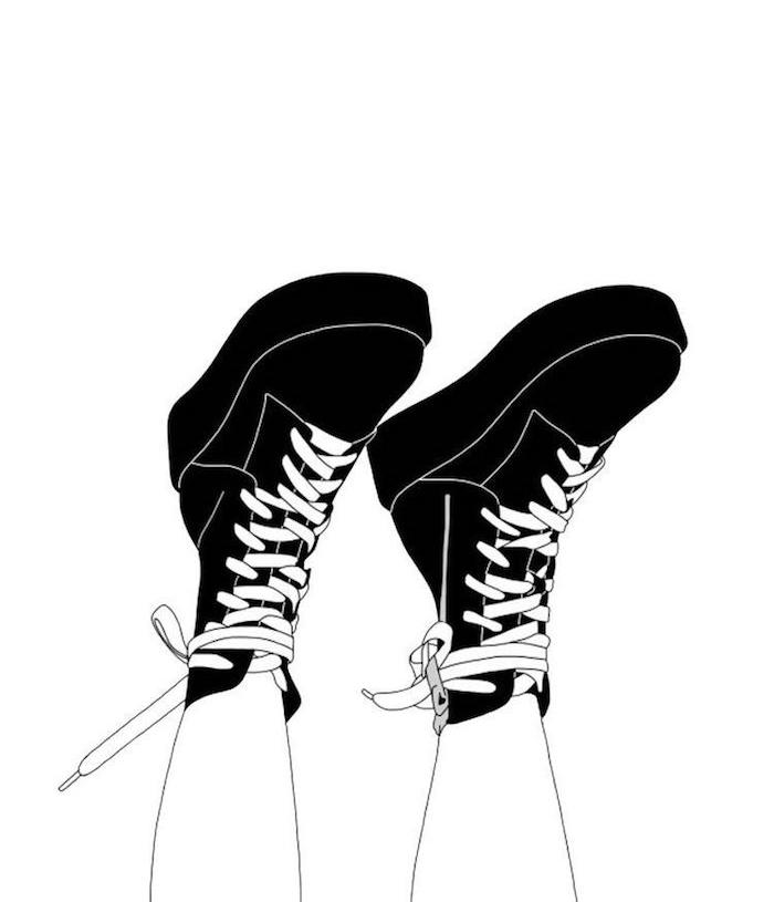 bottines de femme nories, idee image swag dessin facile a reproduire par etape soi meme, jambes blanches