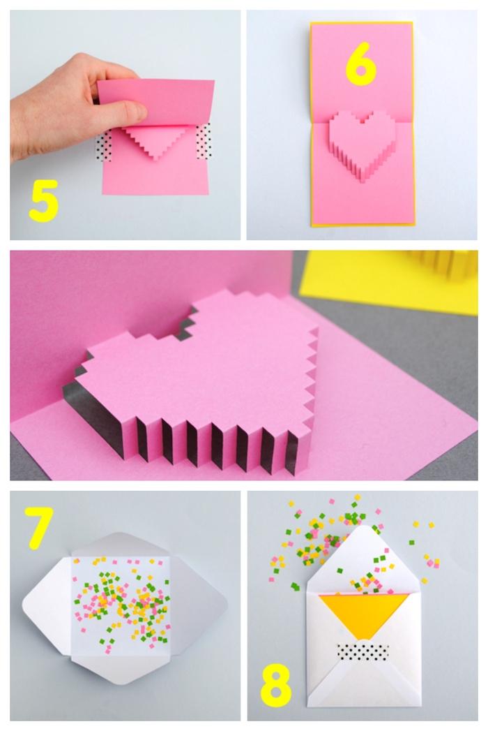 tutoriel pour fabriquer une carte diy bricolage saint valentin en papier rose, dans une enveloppe blanche avec confettis colorés surprise