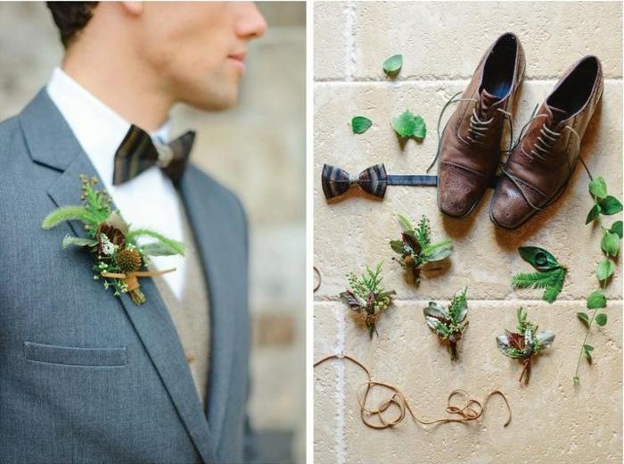 chaussure homme pour mariage gris, noeud papillon noir, chaussures marrons, déco revers végétale