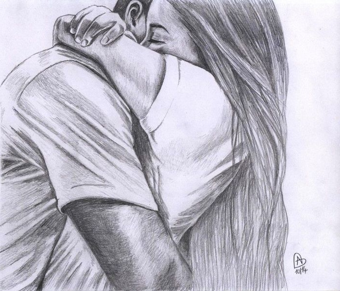 homme et femme dessin couple noir et blanc style graphique, image mignonne de câlin entre deux amoureux