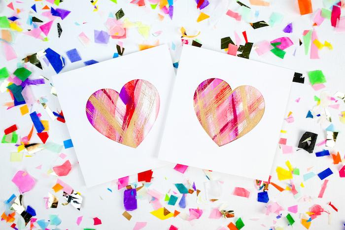 carte st valentin diy à fabriquer, carte avec fenêtre en forme de coeur coloré à touches de peinture style abstrait