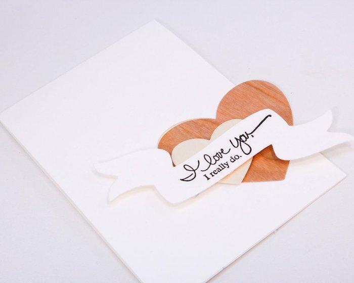 idée de carte en papier blanc avec coeur marron et petite banche avec message d amour, mot d amour pour lui design 3d original