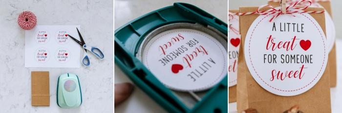 comment emballer un cadeau, diy emballage cadeau pour saint valentin, faire unе étiquette à mots doux pour cadeau romantique