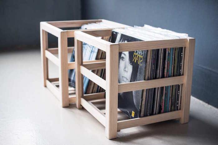 modèles de caisses simples en bois clair pour rangement disques vinyles ou comment ranger ses vinyls