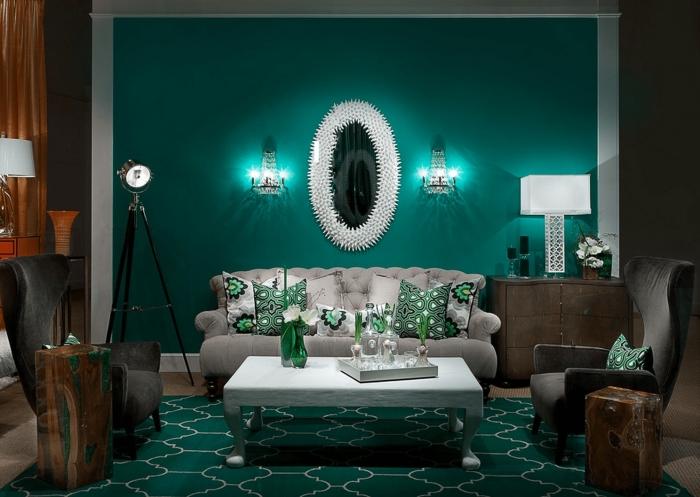 choix peinture salon aux murs vert turquoise, exemple décoration intérieur avec objets et accessoires de couleur vert