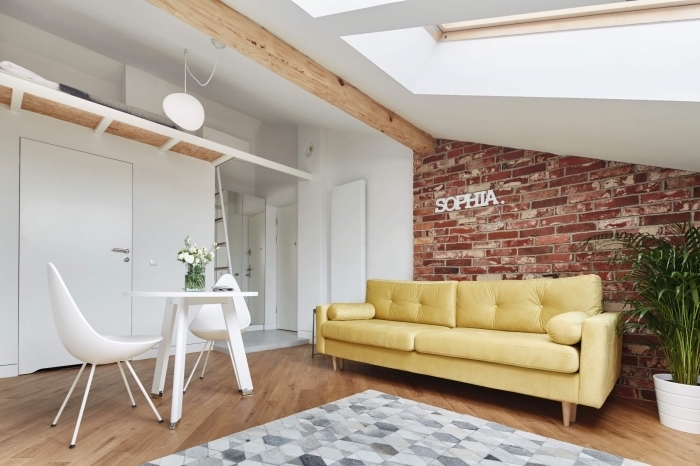 déco de style industriel dans un studio aux murs blancs avec parquet de bois, modèle tapis couleurs gris aux motifs géométriques
