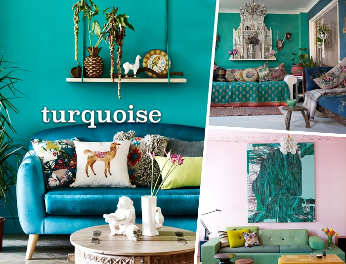 déco ethnique dans un salon aux murs vert turquoise, étagère de bois suspendue comme rangement mural