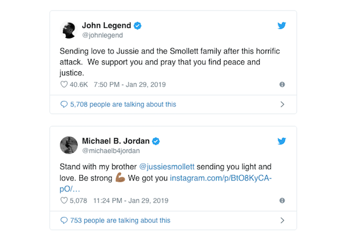 capture d'écran de comptes twitter de john legend et michael jordan en soutien à jussie smollett suite à son agression