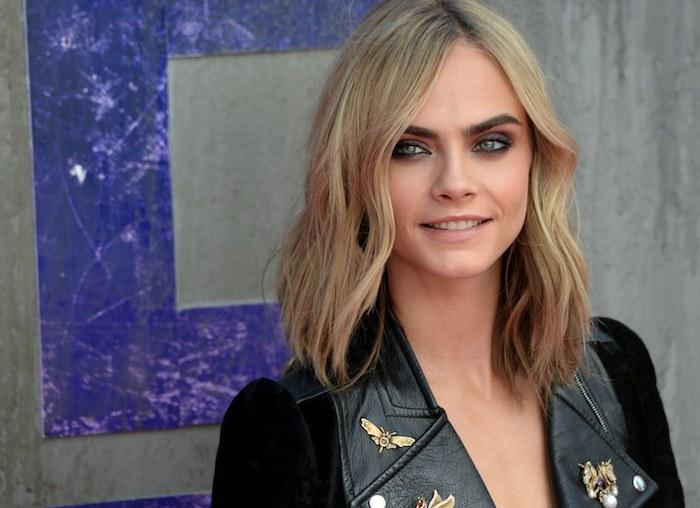 Cara Delavigne, coupe de modele, blonde courte coupe de cheveux femme blonde, coupe cheveux pour affiner visage rond