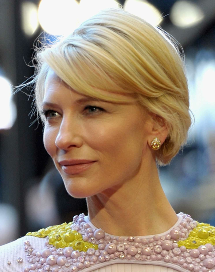 Cate Blanchett avec un carré court femme, carré avec frange de côté, maquillage nude