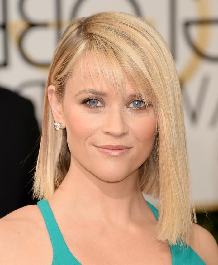 carré avec frange, yeux bleus, cheveux blonds, Reese Witherspoon, coupe carré long