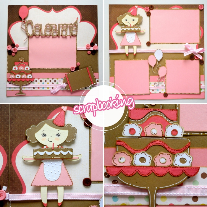 activité manuelle adulte, modèle de carte d'anniversaire pour fille, carte diy fabriquée avec papier coloré et figurines scrapbooking