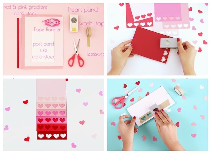 dire joyeuse saint valentin avec une carte de voeux effet ombré originale à petits coeurs réalisés à l aide d une perforatrice