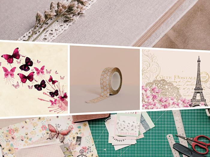 idée scrapbooking facile à réaliser soi-même, modèle de washi tape beige à motifs floraux blancs, papier scrapbooking à design vintage avec illustrations tour eiffel