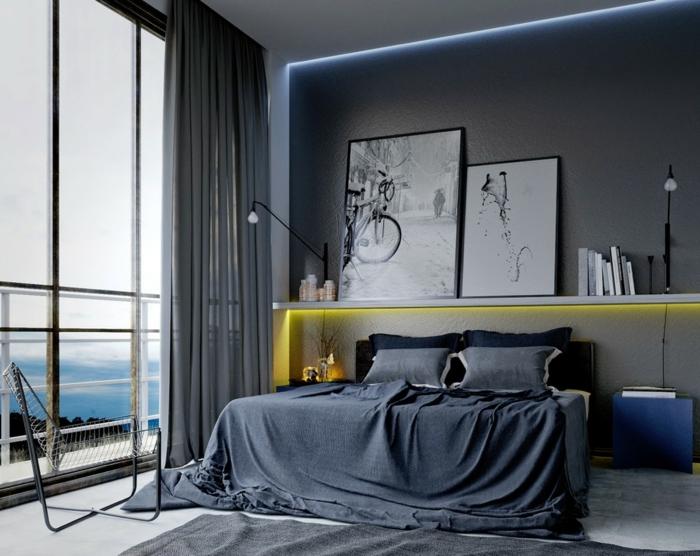chambre masculine, chambre en gris et blanc, lit gris, rideaux gris, grande fenêtre, peindre une chambre en gris, étagère au-dessus du lit