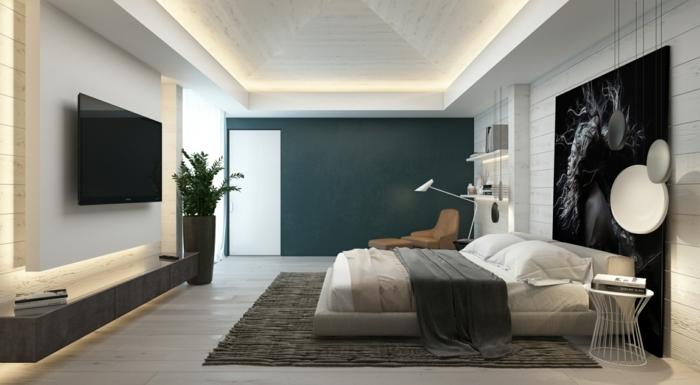 tapis gris, grand tableau avec photographie moderne, lit plateforme, faux plafond, grand vase