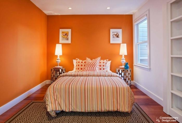 chambre à coucher orange et blanc, quelle couleur pour une chambre petite surface, deux tables de chevet